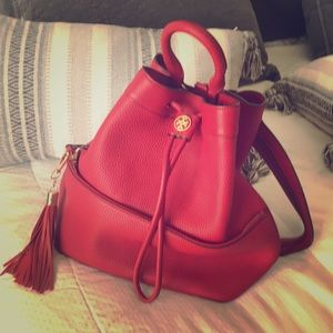 Tory Burch red backpack